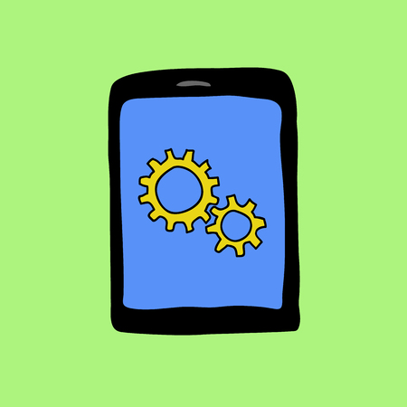 Doodle style pad with two gear wheels. Settings sign Vector