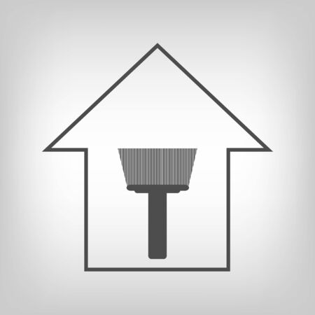 remount: Simple grey house with paint brush. Repair symbol