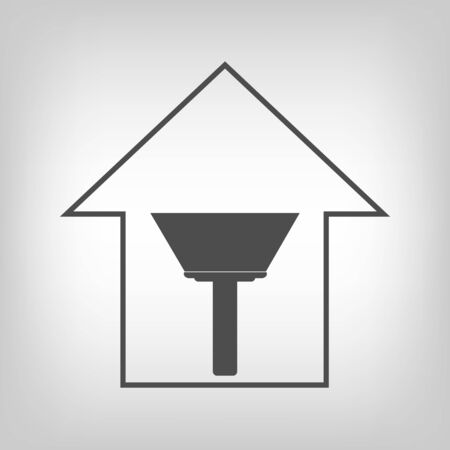 scraper: Simple grey house with paint scraper. Repair symbol