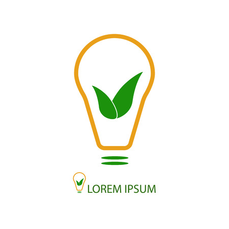 Bulb with green leaves as logo. Idea of eco-friendly source of energy Vector