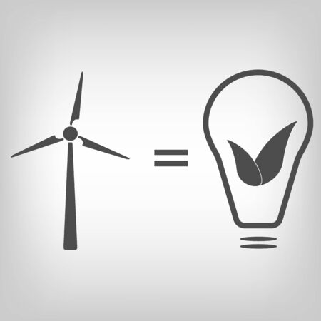 wind turbines: Grey wind turbine and bulb with leaves as idea of eco-friendly source of energy
