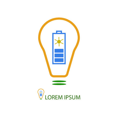 solar battery: Colorful bulb with solar battery as logo. Idea of eco-friendly source of energy Illustration