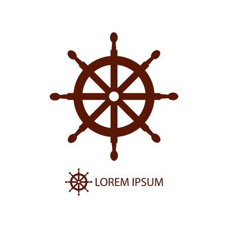 dockyard: Brown helm as logo with copy space on white background. Sea theme Illustration