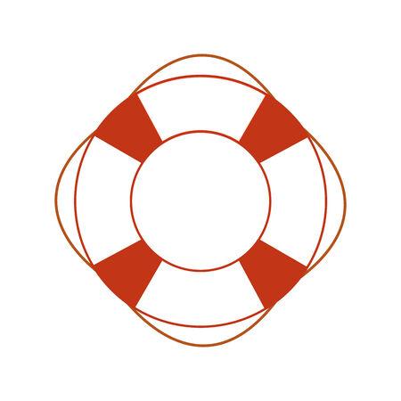 flotation: Orange safety ring on white background. Sea theme, help, rescue Illustration