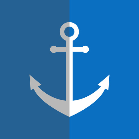dockyard: White anchor in flat style on blue background