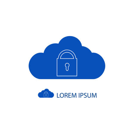 copyspace: Blue cloud with lock as logo in grey colors with copyspace Illustration