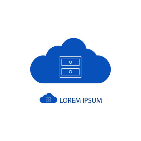 copyspace: Blue cloud with chest of drawers as logo on white background with copyspace
