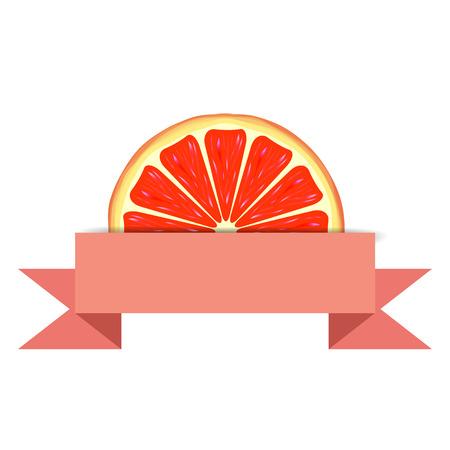advert: Grapefruit slice with pink blank paper banner. Citrus juice advert