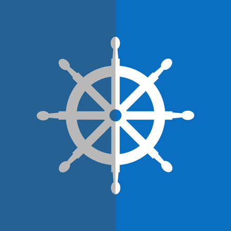 dockyard: White helm in flat style on blue background