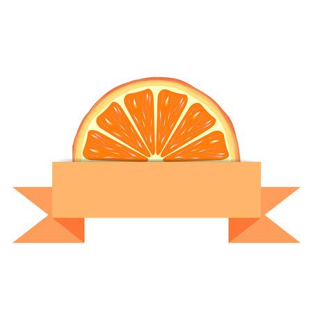 advert: Orange slice with orange blank paper banner. Citrus juice advert Illustration