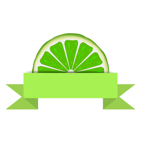 paper banner: Lime slice with green blank paper banner