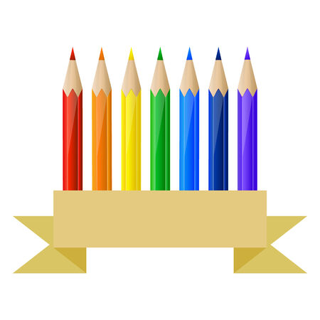 Set of rainbow pencils and blank banner in paper style Vector