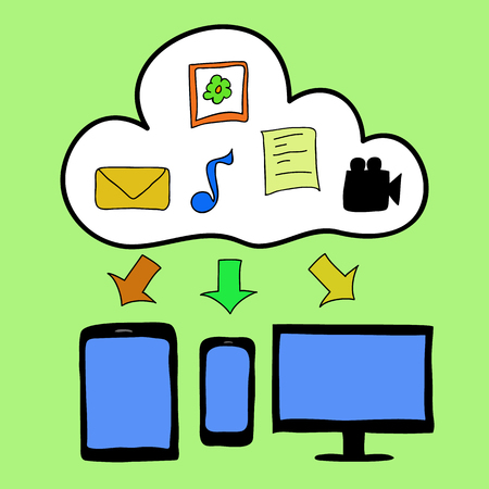 Doodle style computer, tablet  and smart phone with cloud as symbol of cloud computing. Information storage Vector