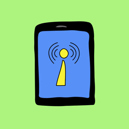 wireless connection: Colorful doodle style with wireless connection sign Illustration