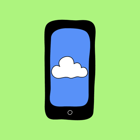 Colorful doodle style smartphone with cloud. Information storage Vector