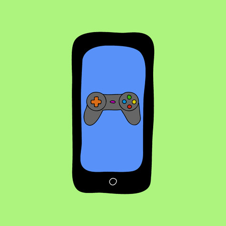 Colorful doodle style smartphone with gamepads. Mobile games