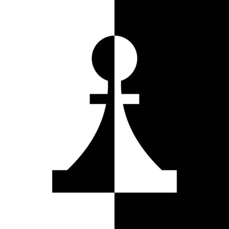 blackandwhite: Black-and-white piece. Chess game, strategy and logic Illustration