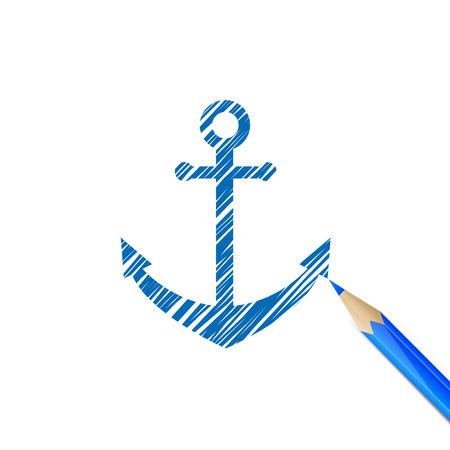dockyard: Vintage anchor darwn with blue pencil on white background