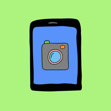 touchpad: Colorful doodle style touchpad with camera icon Illustration