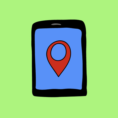 geolocation: Colorful doodle style touchpad with pin pointer. Navigation and geolocation Illustration