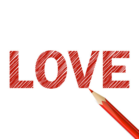 Love word darwn with red pencil on white background Vector