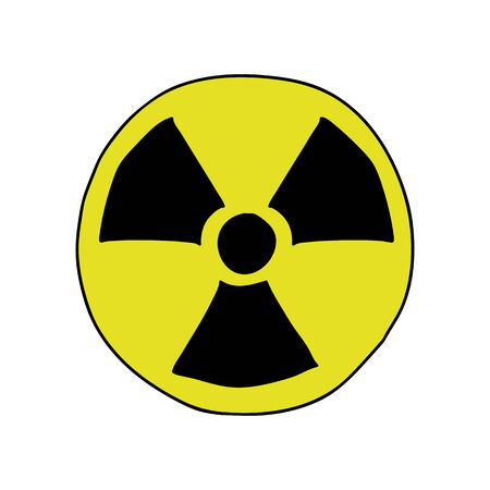 radiation sign: Doodle style radiation sign in black and yellow colors Illustration