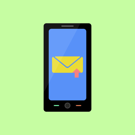 sent: Smart phone with sent message in flat style Illustration