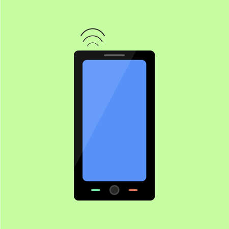 wireless connection: Smart phone with wireless connection in flat style