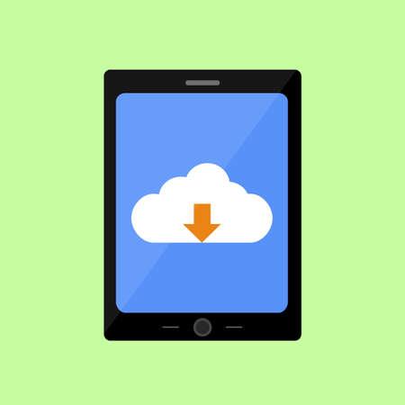 uploading: Tablet PC con nube di caricamento in stile piatto