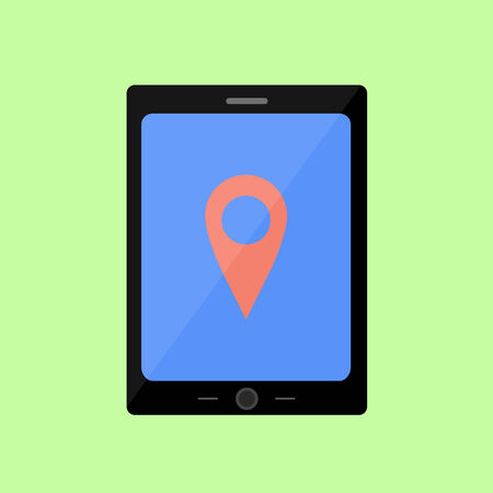 geolocation: Tablet PC with pin pointer in flat style. Navigation and geolocation