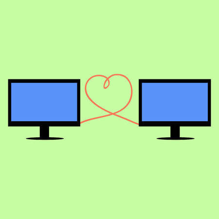 personal computers: Personal computers in flat style connected with heart