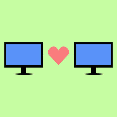 personal computers: Personal computers connected with heart in flat style. Virtual love