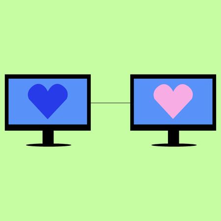 Two computers  with hearts connected. Virtual love in flat style