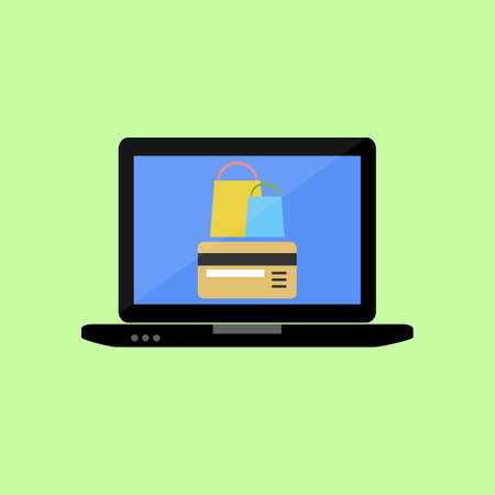 Laptop with bank card and shopping bags. Online shopping in flat style Illustration