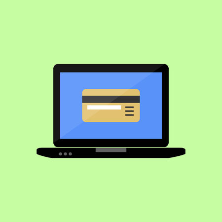 non cash: Laptop with bank card icon in flat style. Payments online Illustration
