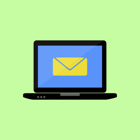 Laptop with mail  icon in flat style Illustration