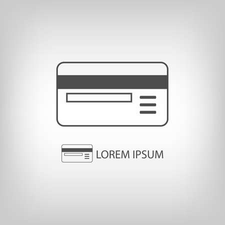 Plastic card as logo with copyspace in grey colors