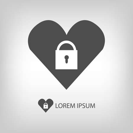 copyspace: Heart with lock with copyspace in grey colors