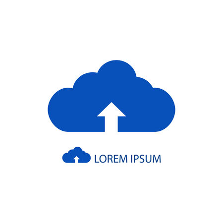 Blue cloud with uploading sign as  with copy space Vector