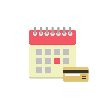non cash: Flat style calendar icon with bank card. Payment day