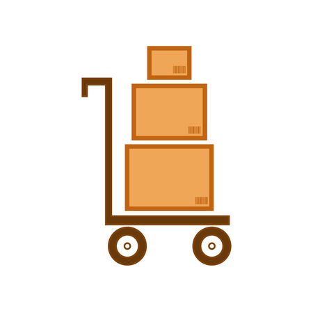 barcodes: Cart with three boxes having barcodes as delivery symbol