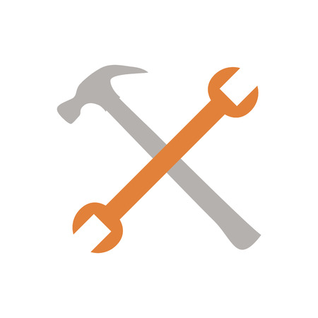 remount: Crossed hammer and spanner. Tools icon in grey color, repair symbol Illustration