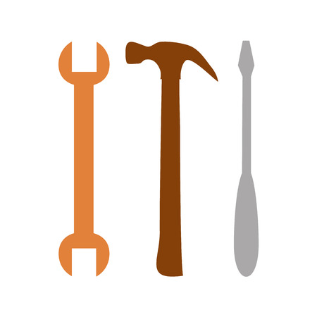 tooling: Spanner, hammer and screwdriver. Tools icon in grey color, repair symbol Illustration