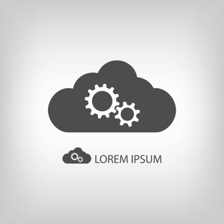 copyspace: Grey cloud with gear wheels as logo in grey colors with copyspace