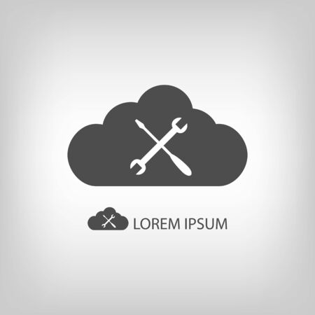 copyspace: Grey cloud with settings sign as logo in grey colors with copyspace