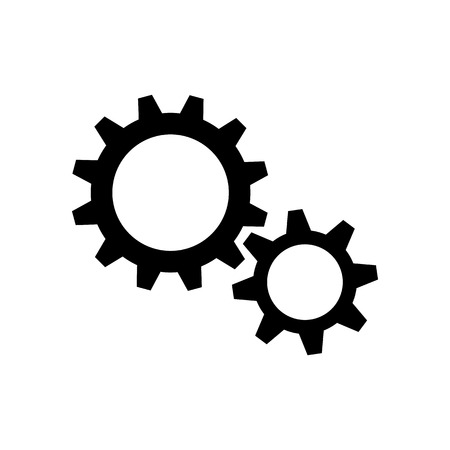 Two black gear wheels on white background
