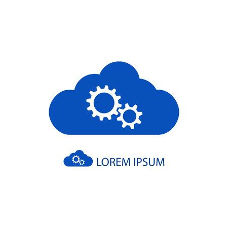 Blue cloud with gear wheels as with copyspace Ilustração