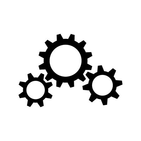 Three black gear wheels on white background Çizim