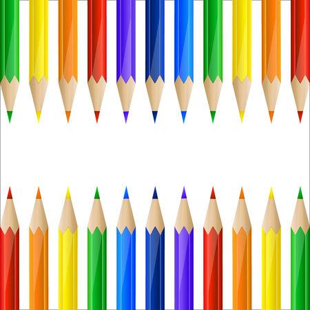 Border gemaakt van kleurrijke potloden met kopie ruimte
