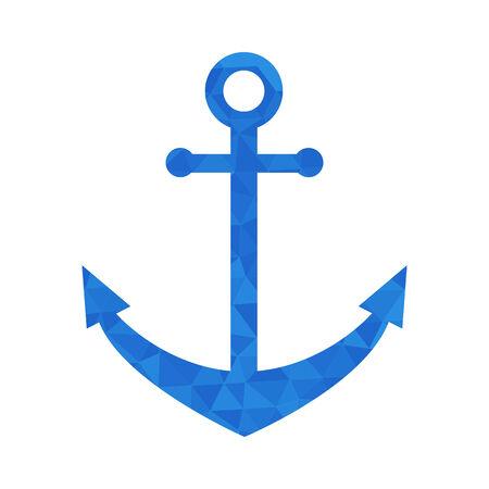 dockyard: Blue mosaic anchor on white background. Sea theme Illustration
